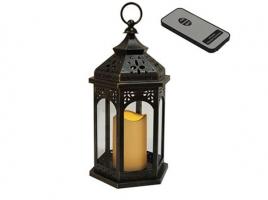 Светильник декоративный LED, с таймером, 33 см, пластик черный (с пультом ДУ)